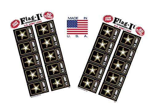 Made in The USA! 2 Packs of Flag-It Army Logo Stickers, 100 Sticker Decals ()