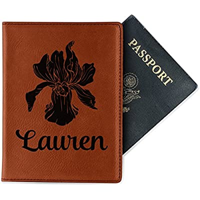 best Orchids Cognac Leatherette Passport Holder - Double Sided (Personalized)