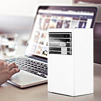 YOUDirect Portable Mini Air Conditioner 9.5 Inch   Small Noiseless Desktop  Fan Mini Evaporative Air