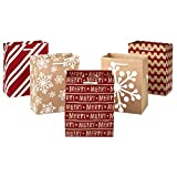 """Hallmark 6"""" Small Holiday Gift Bag Set (Pack of 5; Red, White and Kraft) Snowflakes, Stripes, Merry: more info"""