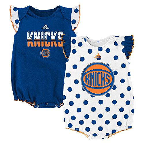 "NBA New York Knicks Newborn ""Polka Fan"" 2pk Creeper Set, Blue, 0-3 Months"