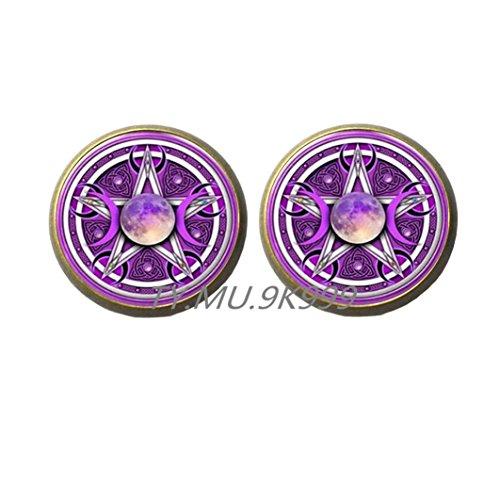 Yao0dianxku Triple Moon Goddess Stud Earrings Pentagram Earrings Witch Jewelry Glass Dome Wiccan Earrings Chain Charm Wicca Jewellery .Y062 ()