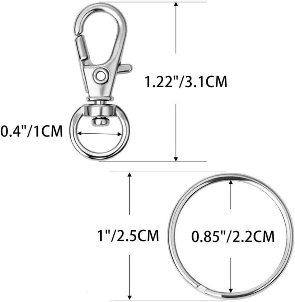 Metal Lobster Clasp With Key Rings 60pcs Silver Metal Lanyard Hook Swivel Snap Hooks Key Chain Clasp Clips Swivel Lanyard Snap Hook