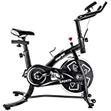 Merax Indoor Cycling Bike Smooth Quiet Belt Drive Exercise Bike Stationary Bicycle Home Cardio Workout Bike with w/Pulse Sensor, LED Monitor, Bottle Holder