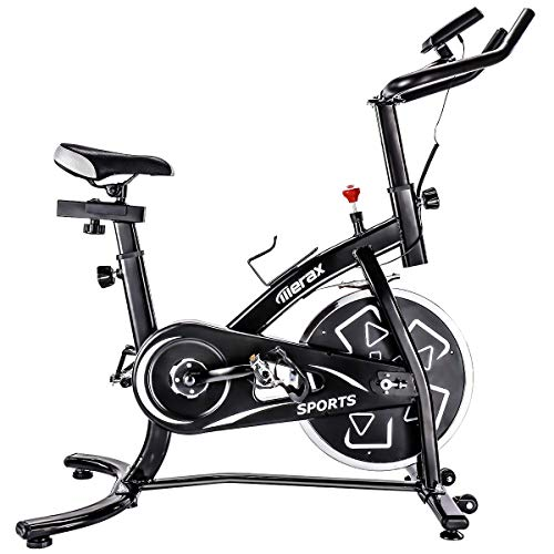 Merax Indoor Cycling Bike Smooth Quiet Belt Drive Exercise Bike Stationary Bicycle Home Cardio Workout Bike with w/Pulse Sensor, LED Monitor, Bottle Holder (Black)