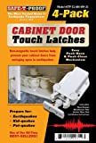 Kitchen Cabinet Latches Safe-T-Proof Cabinet Door Touch Latches, White, 4-Pack
