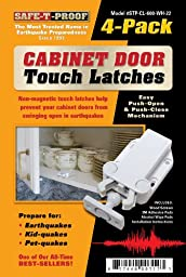Safe-T-Proof Cabinet Door Touch Latches, White, 4-Pack