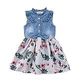 YOUNGER TREE Toddler Baby Little Girls Princess Dresses Sunnmer Sleeveless Casual Denim Dress Floral Print Tutu Skirts (#2 Floral Tutu Skirts, 18-24 Months)