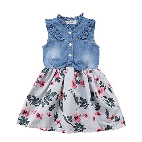 YOUNGER TREE Toddler Baby Little Girls Princess Dresses Sunnmer Sleeveless Casual Denim Dress Floral Print Tutu Skirts (#2 Floral Tutu Skirts, 3/4 ()
