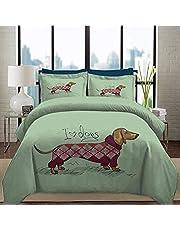 3D Sängkläder hans och hennes sängkläder tax valp stickad tröja detaljerad tecknad djur supermjuk enkel skötsel singel (135 x 200 cm), 2 delat set 1 del täcke + 1 styck matchande örngott