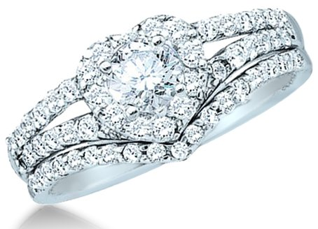 14k White Gold Diamond Ladies Womens Bridal Engagement Ring with