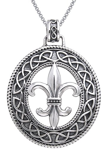 Jewelry Trends Sterling Silver Fleur De Lis Celtic Knotwork Pendant on 18 Inch Box Chain Necklace (Fleur De Lis Chain Pendant)
