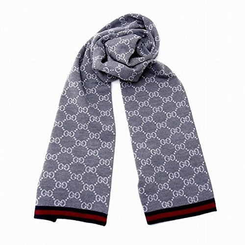 Gucci 'GG' Logo Unisex Wool Scarf with Blue/Red Web 325806, Graphite Grey (Logo Wool Scarf)