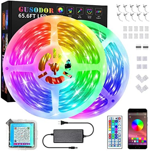 Gusodor Led Strip Lights 65.6 Feet Music Sync Color Changing Smart Led Lights Strip Flexible RGB Tape Lights with App Controller 44 Keys Remote Led Lights for Bedroom Home TV Kitchen Bar Decoration