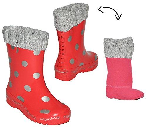 Gummistiefel warm gefüttert - herausnehmbares Fleece Innenfutter - Punkte rot silber - Größe 23 - für Kinder / Mädchen - Naturkautschuk + Winterfutter / gepunktet Winter- Regenstiefel und Sommer Stief