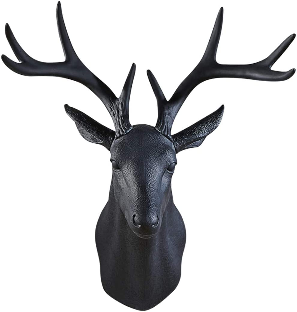 GAOBEI 20 inch Large Wall Charmers Large Faux Deer Head Faux Taxidermy Animal Head Wall Decor - Handmade Farmhouse Decor - Rustic Wall Decor Deer Antlers (Black Deer)