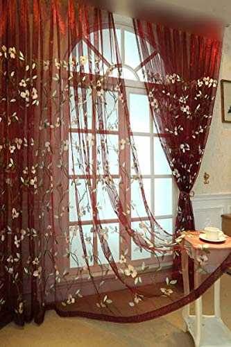 Pastoral Window Sheer Curtain Set Red Polyester Fabric Tulle Flower Embroidered Voile Curtains Rod Pocket Gauze Organza for Living Room Sliding Glass Door Drape W39 x L84 1 Pair (2 Panels) ZZCZZC from ZZC