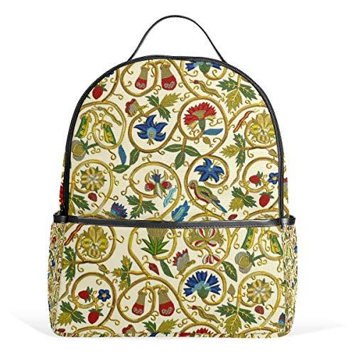 Embroidered Elizabethan Jacket Goldwork Imitation Backpack for Men Women Back Pack Shoulder Bag Daypacks Teenagers's Travel bagpacks Casual Daypack for -
