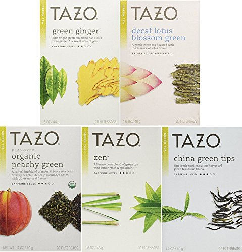 - Tazo Green Tea Energizing 5 Flavor Variety Pack Sampler (Pack of 5, 100 Bags Total)