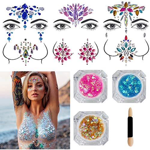 Festival Face Jewels - 6 Sets Women Mermaid Face Gems Glitter Breast Nipple Body Jewelry Stickers with 3 Boxes Chunky Face Glitter Eyes Face Body Temporary Tattoos