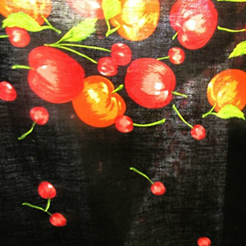 [Premium Cotton Blend Apple and Cherries Border Bunch Printed 58 Inch (The Fabric Exchange) (5 YARDS,] (Cherry Apple Costumes)