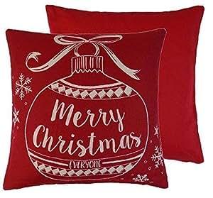 Feliz Navidad Everyone Roja y Crema Bola Navidad 18cm 45cm Funda de Cojín