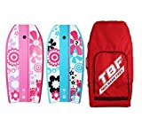 Two Bare Feet 41' Bodyboard Bundle - 2 x 41 Bodyboards of your choice + Premium Double Carry Bag (Red) (41' Flowers (Raspberry), 41' Flowers (Aqua))