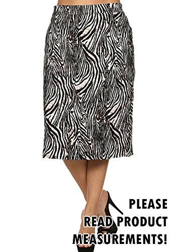Plus Size Zebra Print High Waist Knee Length Pencil Skirt (3x)
