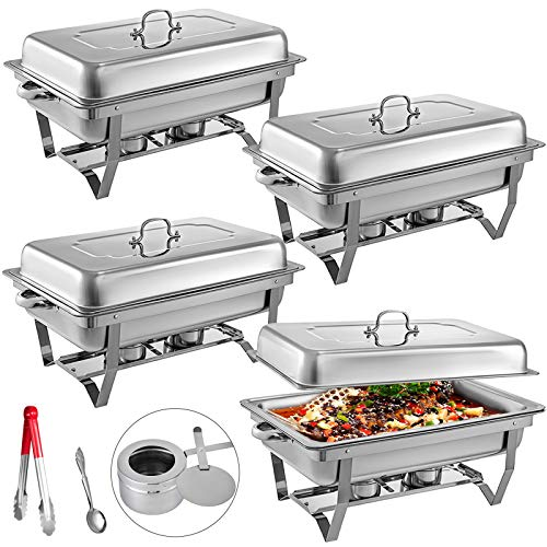 Mophorn Chafing Dish 4 Packs 8 Quart Stainless Steel Chafer Full Size Rectangular Chafers for Catering Buffet Warmer Set with Folding ()