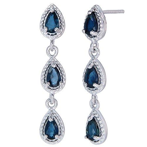 Sterling Silver Blue Sapphire Dangle Earrings (0.85 CT)