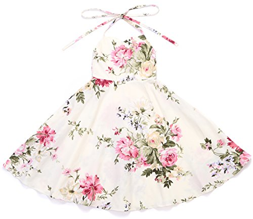Flofallzique Floral Girls Dress Vintage Toddler Sundress Wedding Party 1-12 Y Clothes (12, Cream) -