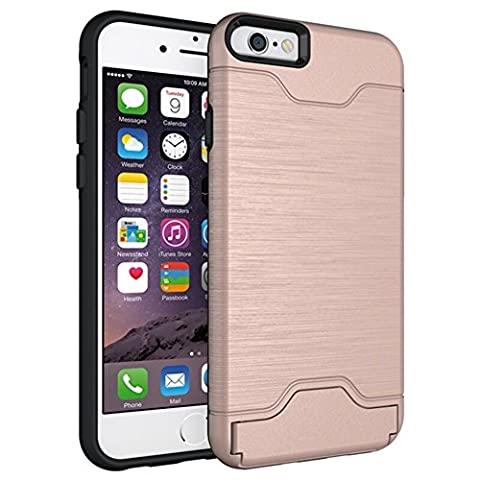 iPhone 6 Plus Case,KATUMO Dual layer Rugged Shock-Absorption Cover for iPhone 6 Plus iPhone 6s Plus 5.5inch-Rose (Iphone6 Plus Case Card Holder)