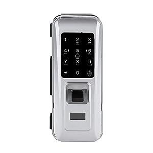 Smart Glass Door Lock Opening Door by Fingerprint/Password/Smart Card/Remote Control Keyless Lock for Home Office