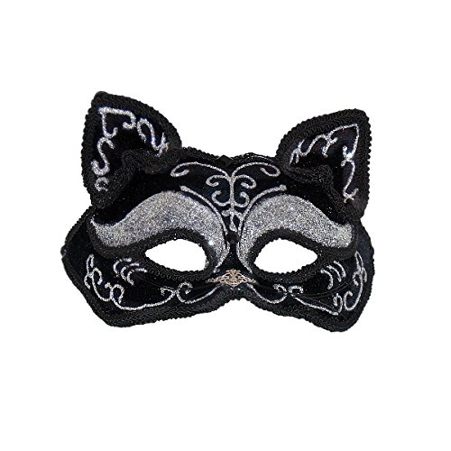 Cat Masquerade Masks (Jacobson Hats Women's Glitter Cat Mask, Black,)