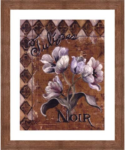 Tulipes Noir by Shari White – 20 x 24インチ – アートプリントポスター 20  x 24  Inch LE_44485-F10570-20x24 B01N9UJS8M Rustic Brown Frame