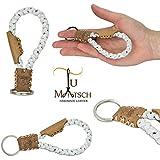 Echtleder Schlüsselanhänger geflochten in Handarbeit hergestellt! Schlüsselband aus Leder für Damen und Herren, Unisex - Farbe: Braun / weiß