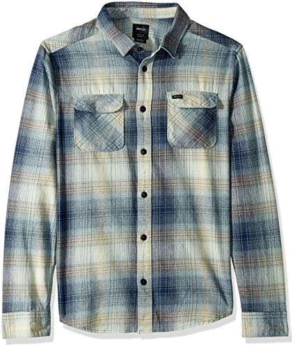 RVCA Men's MUIR Flannel Long Sleeve Woven Button Front Shirt, Federal Blue, L