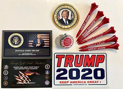 Donald Trump MAGA Golf Ball Marker & Hat Clip + 6 MAGA Golf Tees.with 2 Decals