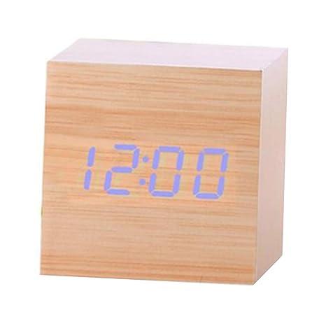 chtdz Termómetro Digital de Madera LED Reloj Despertador Contraluz Control de Voz Redes eléctricas USB Madera