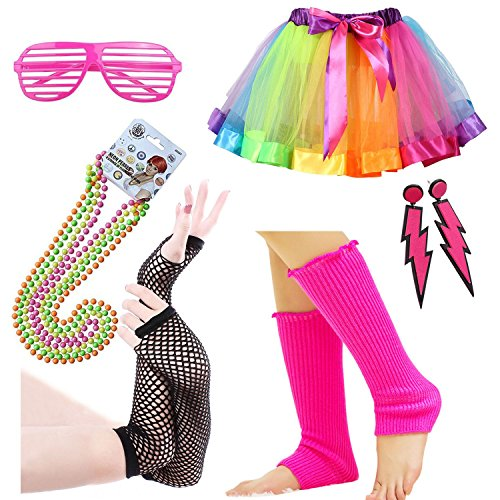Womens 80s Costume Accessories Fancy Outfit for 1980s Party Rainbow Tutu Skirt Neon Earrings Sunglass Leg Warmers Gloves Pearls Necklace (A2)