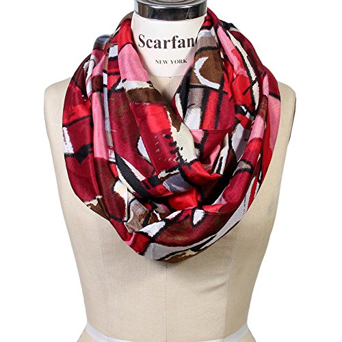 (Scarfand's Mixed Color Oil Painting Infinity Scarf (Abstract Red Pink))