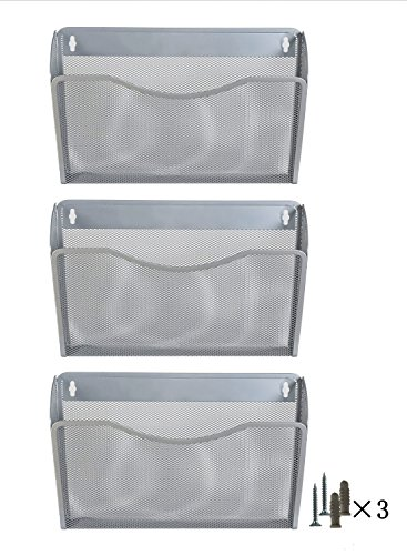 PAG 3 Pockets Hanging File Holder Organizer Metal Wall Mount Magazine Rack, Silver