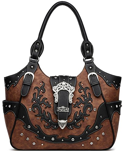 Western Cowgirl Style Buckle Studded Concealed Carry Purse Country Handbag Women Shoulder Bag Black Brown (Handbag Winged Heart)