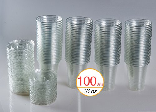 16 Oz Plastic Clear Drink Pet Cups With Flat Lids 100