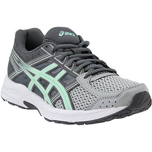 ASICS Womens Contend 4 Running Sneaker, Mid Grey/Glacier Sea/Silver, Size 6.5 Wide
