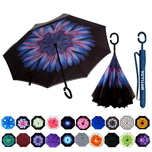 Designed Umbrella (MRTLLOA Double Layer Inverted Umbrella with C-Shaped Handle, Anti-UV Waterproof Windproof Straight Umbrella for Car Rain Outdoor Use)