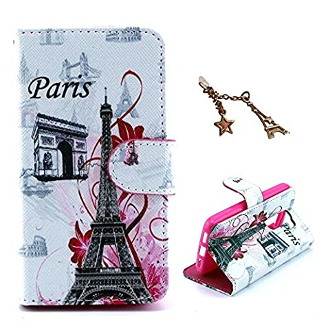 Uming® Pattern Print PU case for Apple Iphone 4S 4G 4 IPhone4 IPhone4S Apple4S France Paris Triumphal arch Eiffel Tower Landmarks with Pink Bloom Flower Colorful Printing Drawing Patterns Flip Holster with Stand Stander Holder Hand Free Credit Card Slot Hole Hasp Magnet Magnetic Button Buckle Shell Protective Mobile Cell Phone Case Cover Bag + 1 x Anti Dust Plug - Triumphal arch Tower