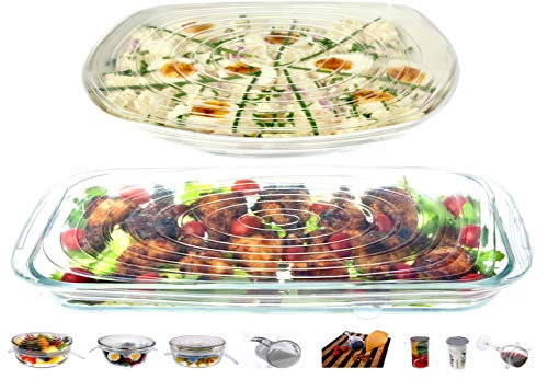 Clear Bowl Cover - Silicone Stretch Lids Reusable 8 Pack Food Covers, Round, Rectangle, Square Shapes, Platters, Dishes, Bowls, Pots, Containers, Jars, Cans, Cups and Glasses