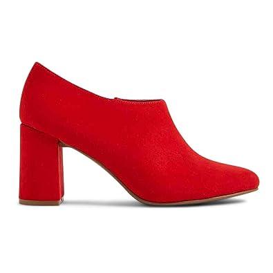 The Outlet London - Zapatilla Baja de Tela Mujer, Color Rojo, Talla 36