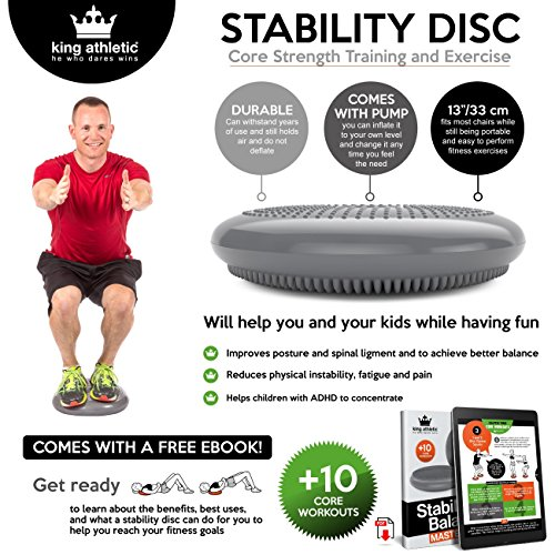 King Athletic Stability Disc :: Balance Air Seat Cushion :: Wobble/Wiggle Chair Sitting Disk for Core Instability Exercise Training